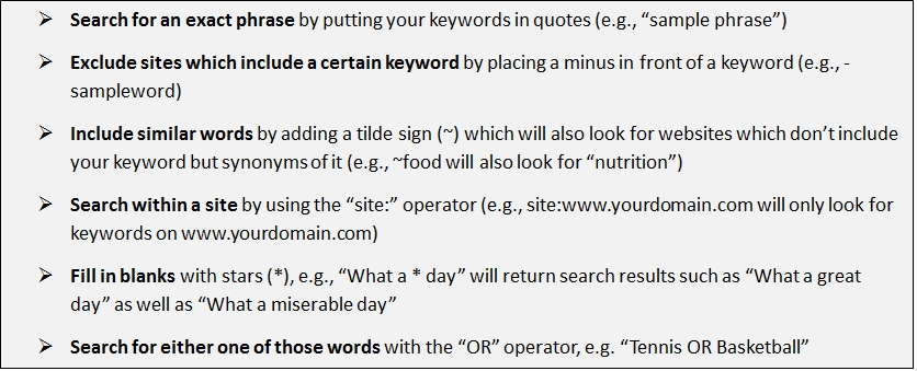 Most important google search operators
